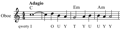 The same music excerpt, from the KeyMusician Songbook.