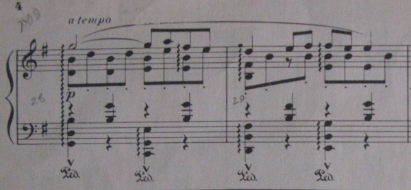 Excerpt of Ravel's Pavane for a Dead Princess piano music.