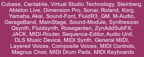Picture of many MIDI Music Terms, and product names.