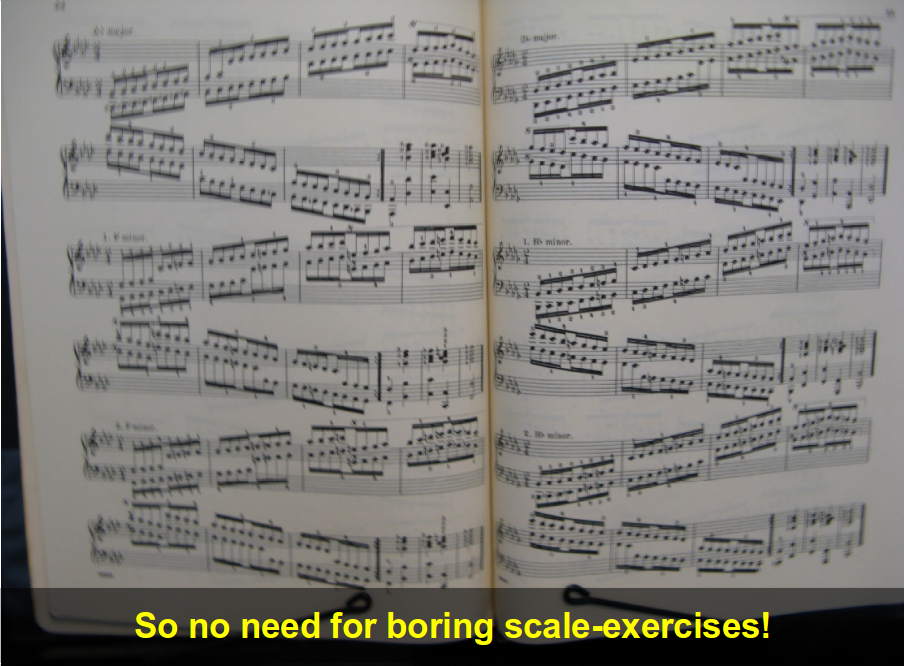 Picture of a music book, open to scale exercises.