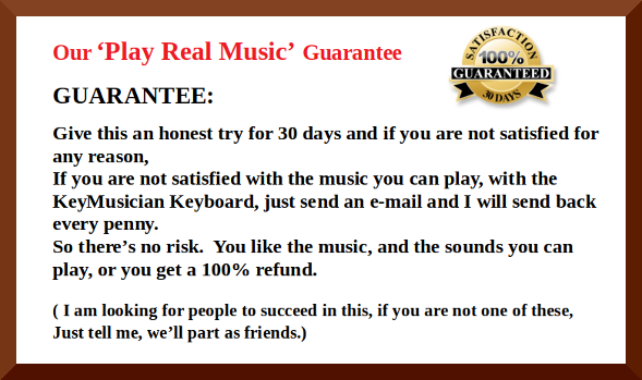 Our play real music in thirty days, money-back guarantee
